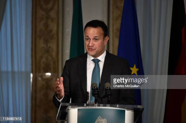 Taoiseach Leo Varadkar reacts to questions as he holds a joint press conference alongside German Chancellor Angela Merkel at Farmleigh House on April...