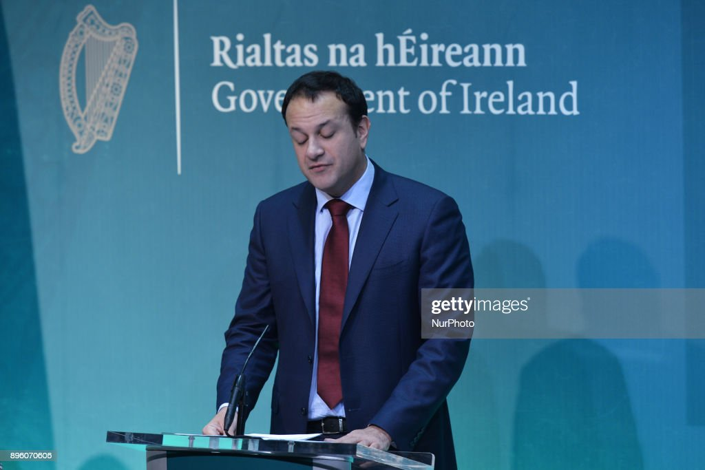 Taoiseach (Irish Prime Minister) Leo Varadkar, speaks at the launch Bliain na Gaeilge 2018 in the Government Press Centre. On Wednesday, 20 December 2017, in Government Buildings, Dublin, Ireland.