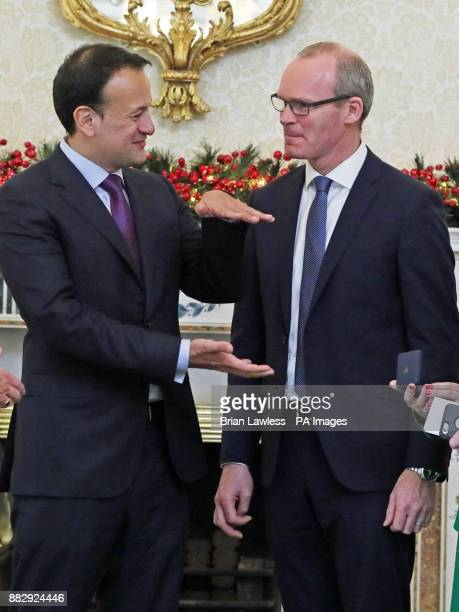 Taoiseach Leo Varadkar speaks with the newly appointed Tanaiste Simon Coveney at the Aras in Dublin following the resignation of Frances Fitzgerald...