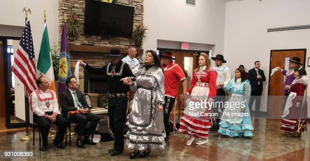Taoiseach Leo Varadkar watches traditional Choctaw dancing at the Choctaw tribal council in the Main Hall in Oaklahoma on day two of his week long...