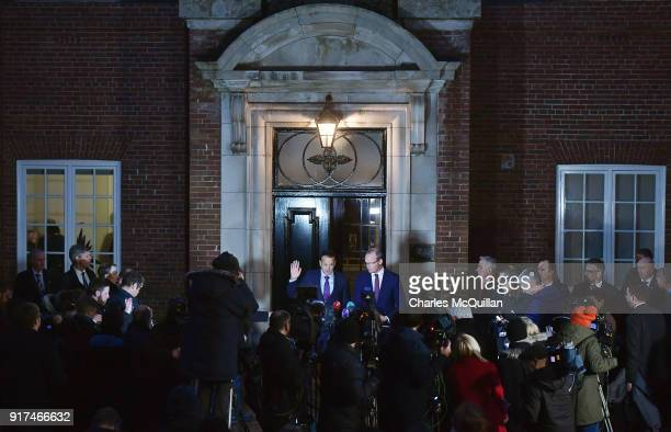 Taoiseach Leo Varadkar waves as he holds a press conference at Stormont House on February 12 2018 in Belfast Northern Ireland Irish Prime Minister...