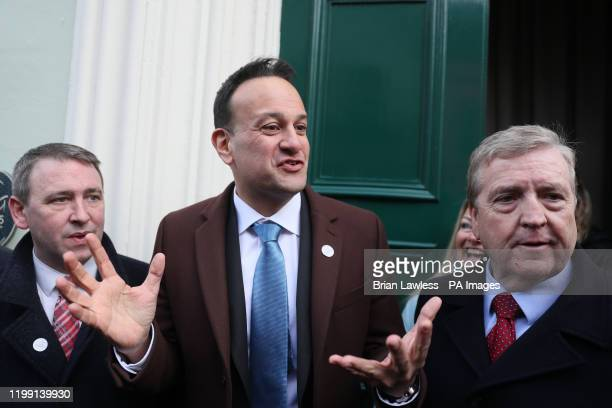 Taoiseach Leo Varadkar with Fine Gael candidates for the Clare constituency Joe Carey and Pat Breen canvassing during last day of general election...