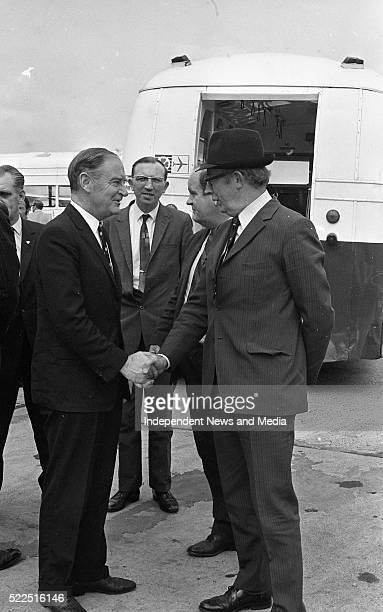 Taoiseach Liam Cosgrave being greeted by T F O'HigginsTD on his return from Brusells Circa July 1971