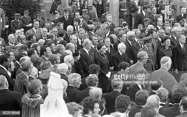 Taoiseach Liam CosgraveTD and his wife Vera with Fianna Fail leader Jack LynchTD his wife Maureen and members of the Fianna Fail party at the burial...