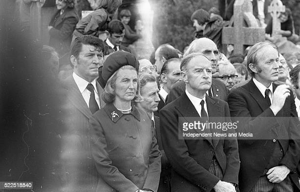 Taoiseach Liam CosgraveTD his wife Vera and Michael O'KewdnnedyTD and members of the FF party at the burial of the late President Eamonn de Valera in...