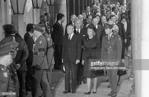 Taoiseach Liam CosgraveTD his wife Vera Jack LynchTD leader of Fianna Fail and his wife Maureen and politicians arriving at Dublin Castle for the...