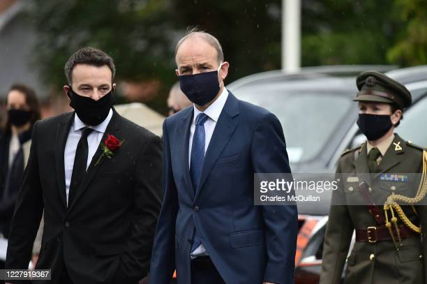 Taoiseach Micheal Martin arrives as the funeral takes place of former SDLP leader and Nobel Peace Prize winner John Hume at St Eugene's cathedral on...