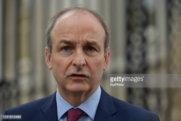 Taoiseach Micheal Martin during media interview outside Government Buildings in Dublin before the Cabinet meeting. On Tuesday, 9 March in Dublin,...