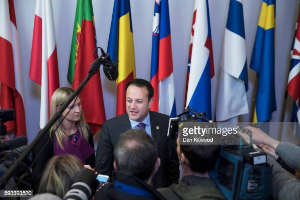 Taoiseach of Ireland Leo Varadkar arrives for the second day of the European Union leaders summit at the European Council on December 15 2017 in...