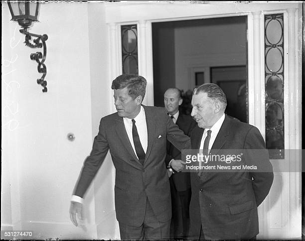 Taoiseach Sean Lemass with President John F Kennedy during his visit to Ireland circa June 1963