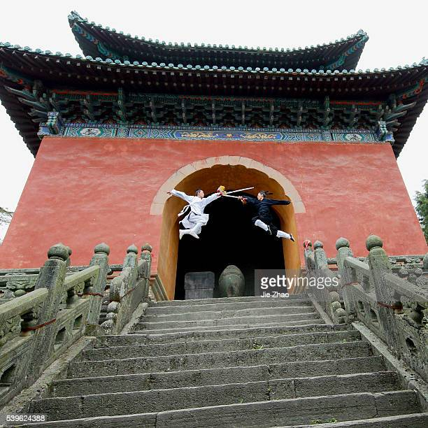 Taoist monk practicing Wudang martial arts at Wudang Mountains China on 17th April 2015