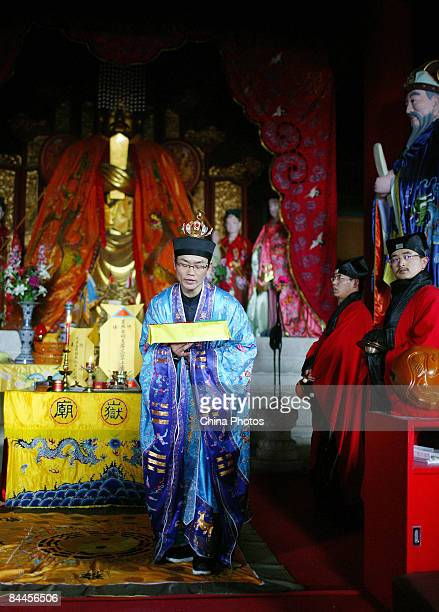 Taoist priests host a ceremony to pray for good luck during Chinese New Year celebrations at the Dongyue Temple on January 26 2009 in Beijing China...