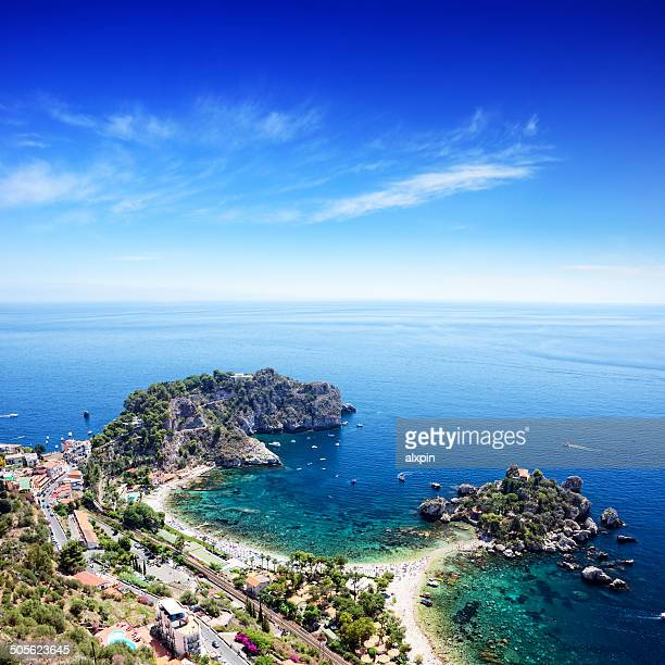 taormina beach, sicily - sicily stock pictures, royalty-free photos & images