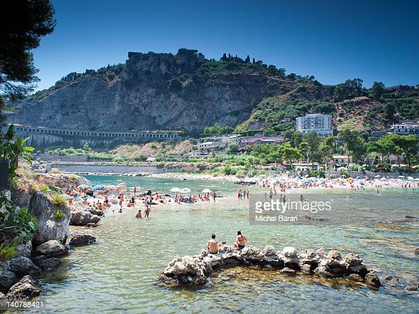 taormina isola bella - taormina stock pictures, royalty-free photos & images