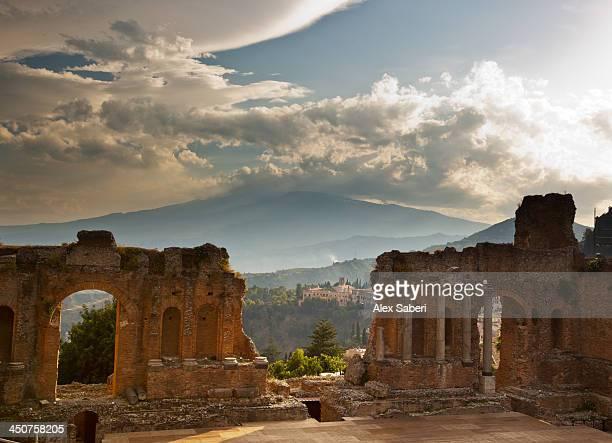 the greek amphitheater of taormina - taormina stock photos and pictures