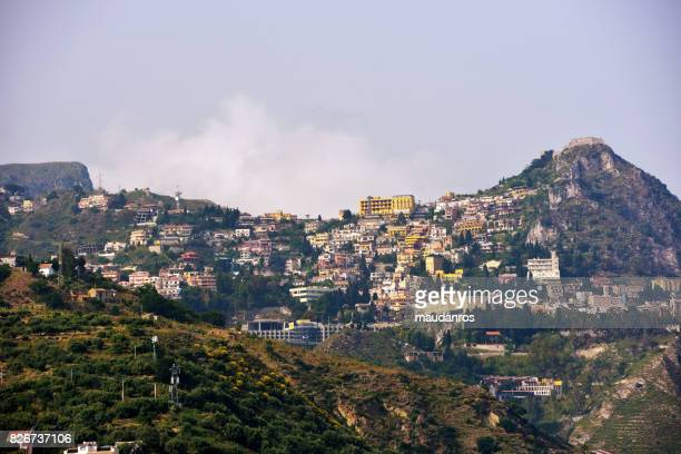 taormina, sicily italy - castelmola stock pictures, royalty-free photos & images