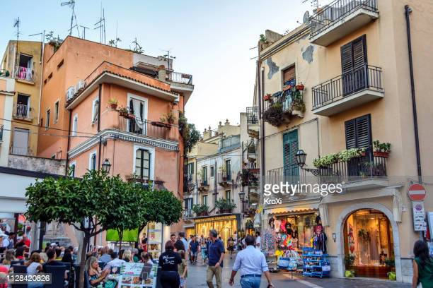 taormina, sicily - taormina stock pictures, royalty-free photos & images