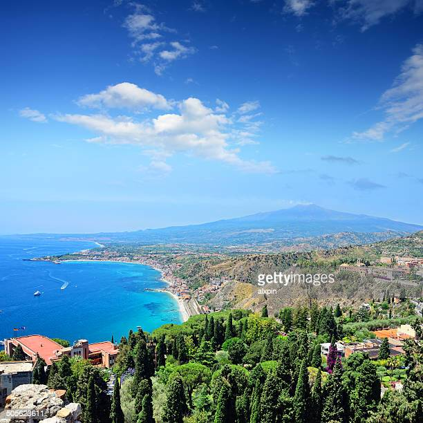 taormina, sicily - mt etna stock pictures, royalty-free photos & images