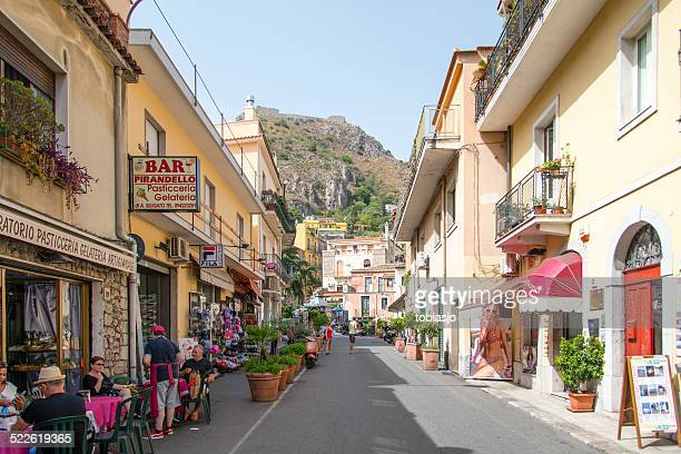 taormina sicily - catania stock photos and pictures
