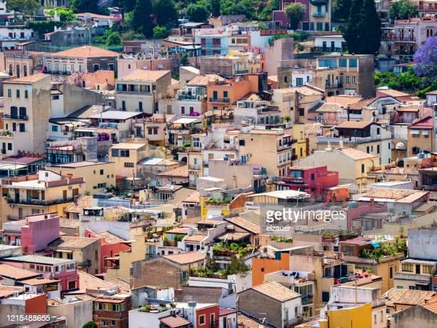 taormina town - taormina stock pictures, royalty-free photos & images