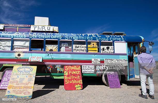 Taos, NM: Hippie Food Bus Selling Coffee, Smoothies, Snow Cones