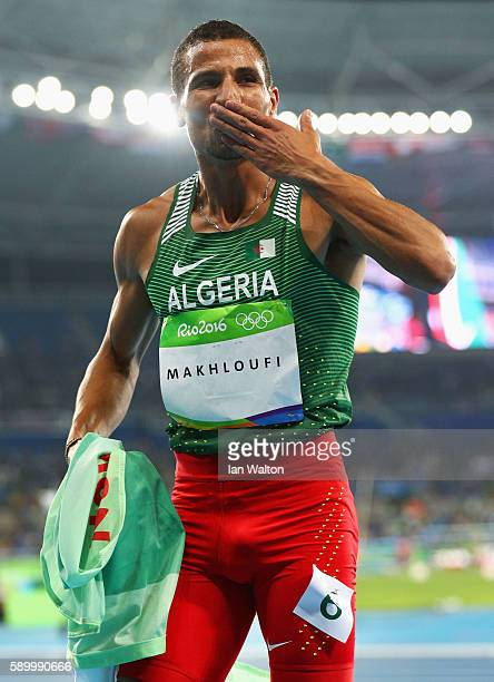 Taoufik Makhloufi of Algeria celebrates after winning the silver medal in the Men's 800m Final on Day 10 of the Rio 2016 Olympic Games at the Olympic...