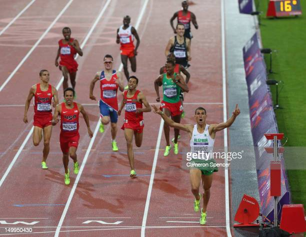 Taoufik Makhloufi of Algeria crosses the finish line to win the gold in the Men's 1500m Final on Day 11 of the London 2012 Olympic Games at Olympic...