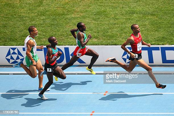 Taoufik Makhloufi of Algeria, Silas Kiplagat of Kenya, Deresse Mekonnen of Ethiopia and Amine Laalou of Morocco race to the finish line during the...