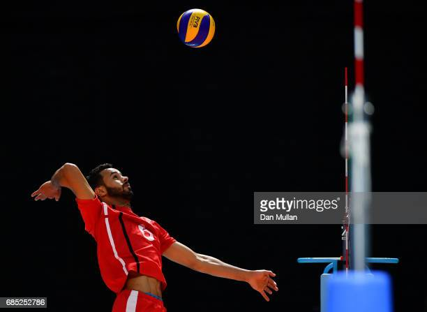 Taoufiq Elasri of Morocco warms up prior to the Mens Volleyball Group B match between Qatar and Morocco during day eight of Baku 2017 4th Islamic...