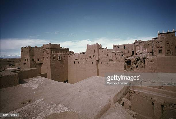 Taourirt kasbah, This photograph was taken in 1979 before the restoration of the site in 1996 and the expansion of the modern city of Quarzazate....