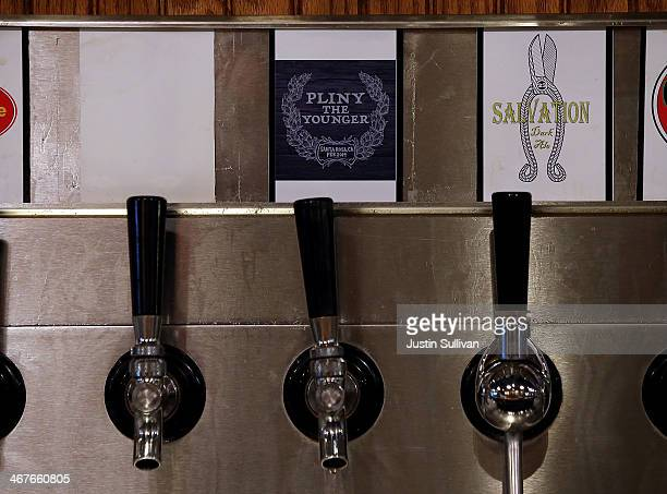 A tap is labled for the new release of Russian River Brewing Company Pliny the Younger triple IPA beer at Russian River Brewing Company on February 7...