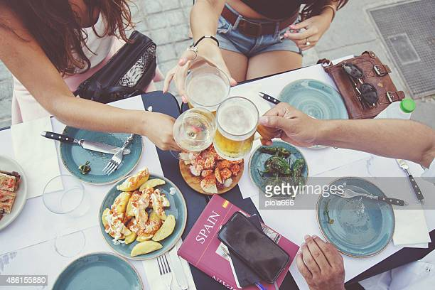 tapas and beer toast - spain stock pictures, royalty-free photos & images
