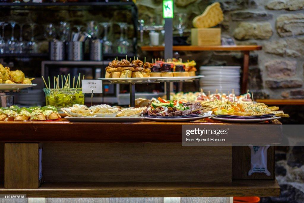 Tapas and Pinxos in a bar in San Sebastian Spain : Stock Photo