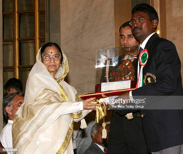 Tapas Chowdhury Water Adventure Receiving the Tenzing Norgay National Adventure award from Pratibha Devisingh Patil President of India in New Delhi...
