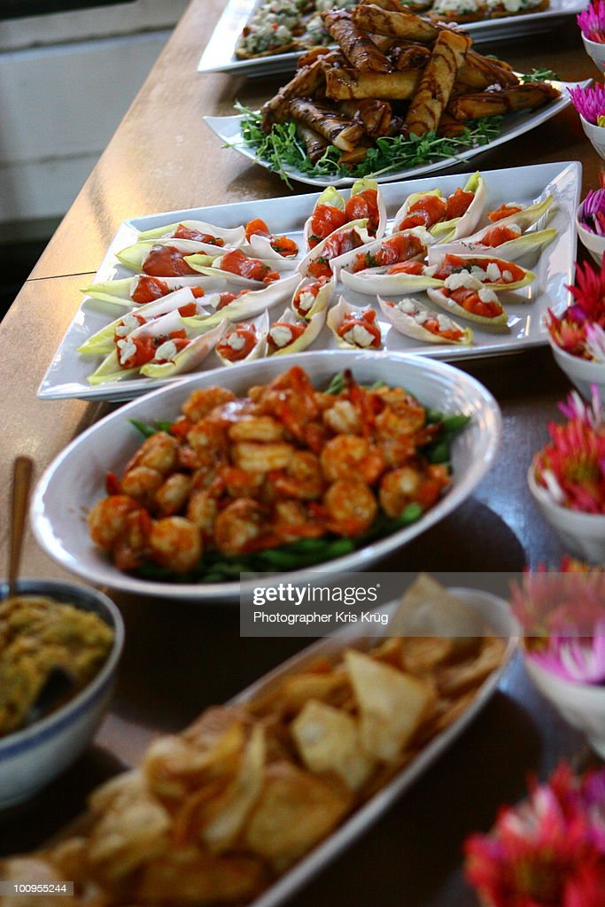 Tapas Finger Foods on Wooden Table Buffet : Stock Photo
