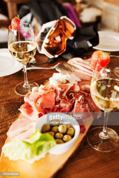 tapas on table - tapas stock photos and pictures
