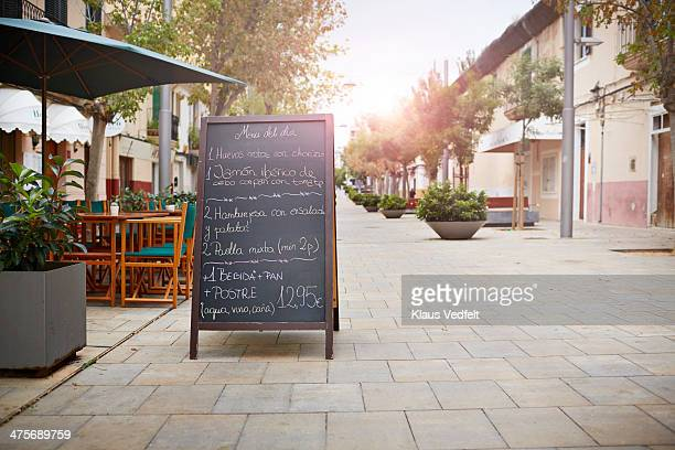 tapas sign in front of spanish restaurant - klaus vedfelt mallorca stock pictures, royalty-free photos & images