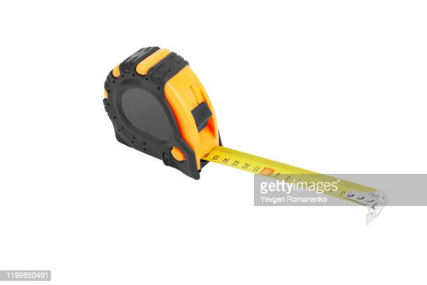 tape measure isolated on white background - meter unit of length stock pictures, royalty-free photos & images