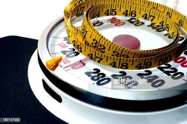 Tape measure laying on a scale
