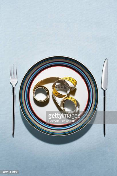 Tape measure on plate