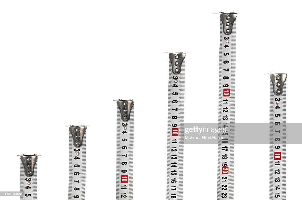 Tape measures like a graph : Stock Photo
