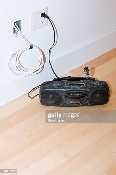 Tape recorder on the floor