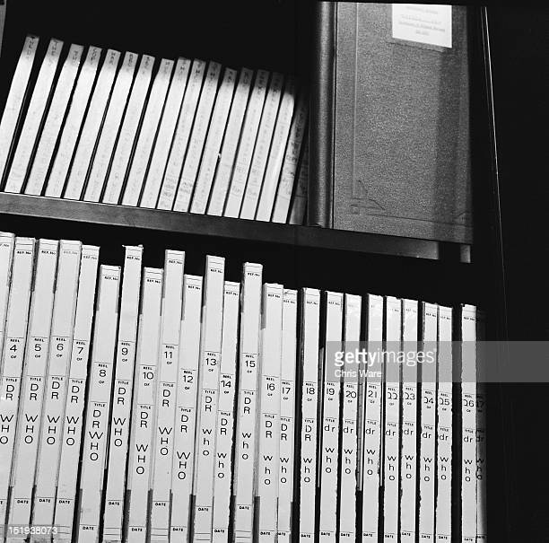 Tape reels of the 'Doctor Who' science fiction series at the BBC Radiophonic Workshop at the BBC's Maida Vale studios London 22nd March 1969