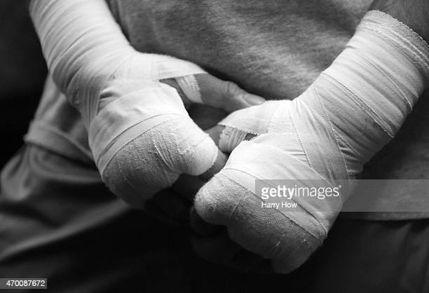 Taped hands of Manny Pacquiao before a workout in preparation for his fight against Floyd Mayweather Jr at Wild Card Boxing Club on April 15 2015 in...