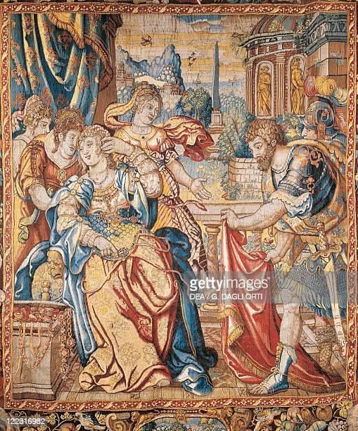 Tapestries Belgium Flanders 17th century Detail of The Life of Pompeius tapestry Manufactured in Bruges ca 1640