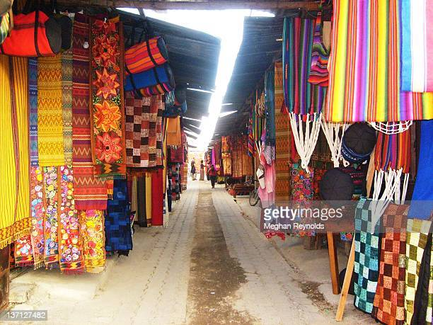 tapestries displaying guatemala vibrant mayan cult - meghan stock photos and pictures