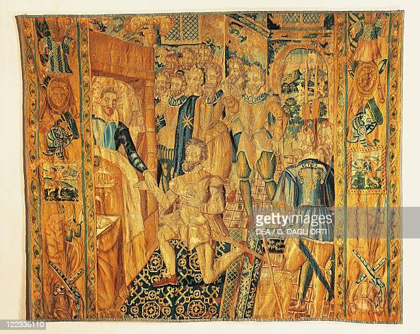 Tapestries France 16th century Tapestry depicting Henry III of Valois while trasfering the emblems of power to Henry of Navarre