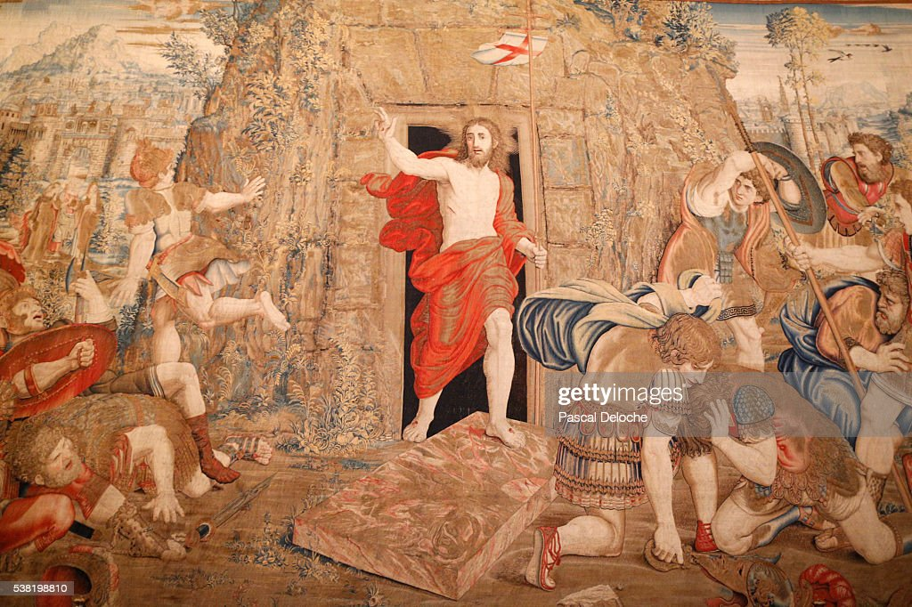 Tapestry depicting the resurrection. Gallery of Tapestries. Vatican Museum. : Foto de stock