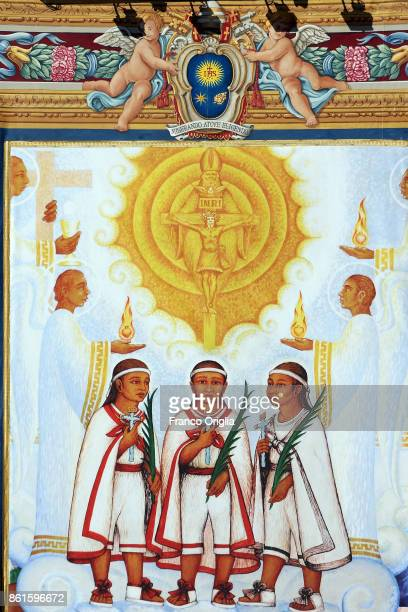 A tapestry featuring the portrait of the new Sainths indigenous martyrs from Mexico Cristobal Antonio and Juan Ð known as the 'Child Martyrs of...