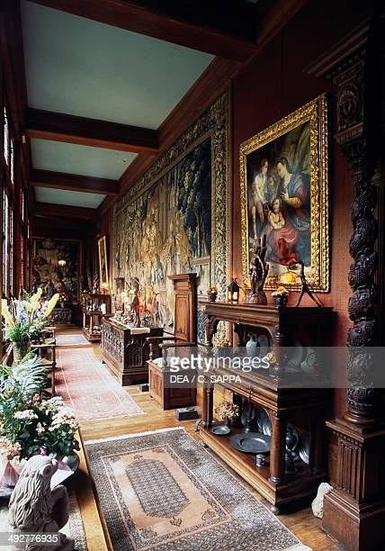 Tapestry gallery in Chateau of Bonneval CoussacBonneval Limousin France
